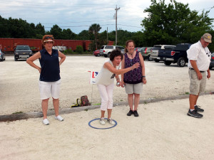The women trouncing the men Petanque EABC